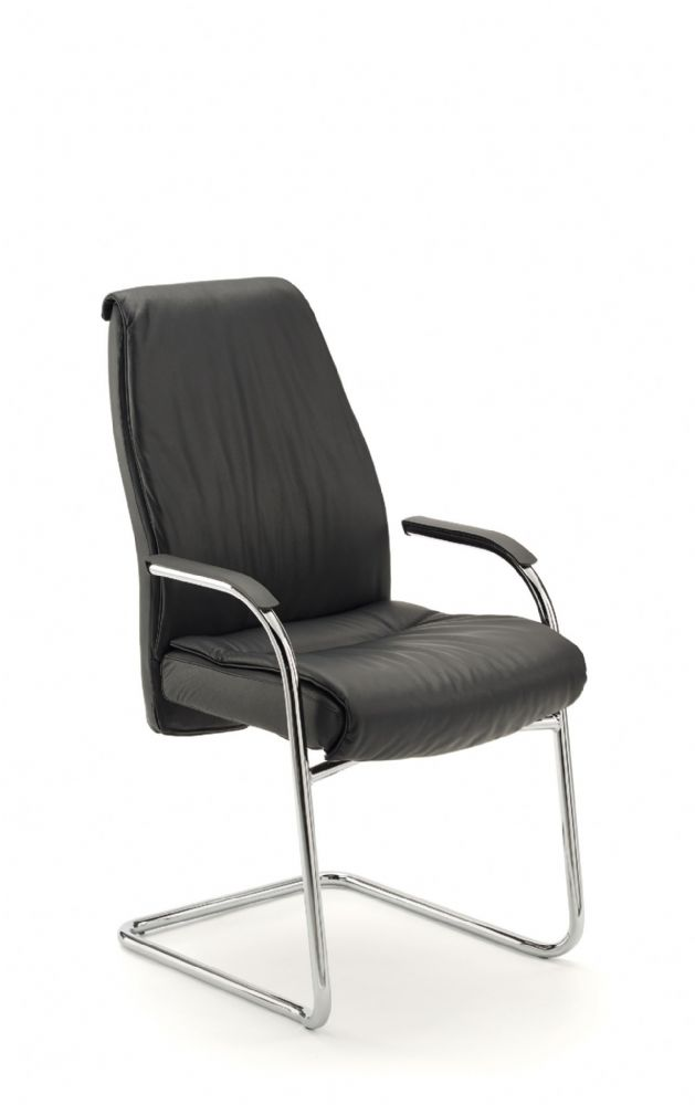 Pledge Zante Medium Back Task Cantilever Chair in Black Leather With Self Arm And Pads
